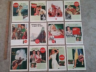 Vintage Coke Coca-Cola Print Ads (lot c) 12 Pages/Covers from LIFE Magazines