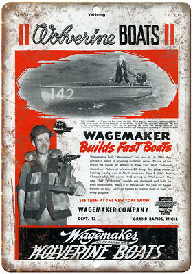"""Wolverine Boats II Wagemaker Company Fishing 10"""" x 7"""" Reproduction Metal Sign"""