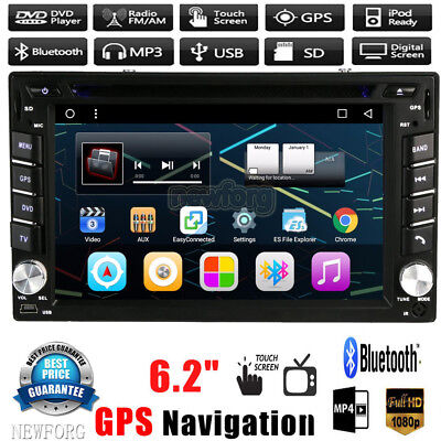 "HD 6.2"" Double 2Din In Dash Car Stereo DVD CD Player GPS Nav BT Radio iPod FM TV"