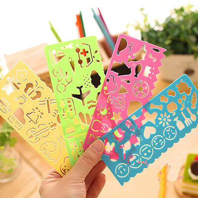 4 Color 4 Different Shape Stationery Plastic Kids Painting Drawing Rulers