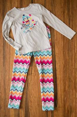 Gymbore Girls Size 10 Fleece Lined Chevron Leggings and Bird Top Outfit Set Lot