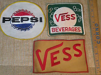 Vintage Lot Pepsi-Cola & Vess (2) Embroidered Uniform/Jacket Sew-On Patches