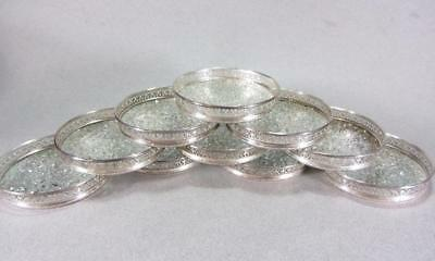 Set of 10 Mid-Century Modern International Sterling #M150 Cracked Glass Coasters
