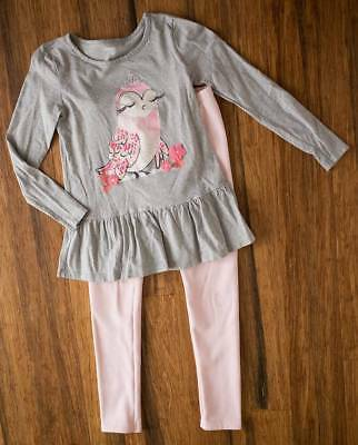 Gymboree Girls Owl Top and Fleece Lined Leggings Size 10-12 EUC Outfit Set Lot