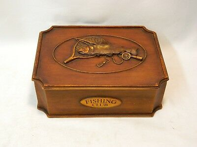 "Beautiful 8-1/2"" X 6-1/2"" X 3"" Rustic Decor Resin Fly Fishing Club Box W/ Lid!"