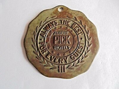 Vintage Albert Pick Hotel Anderson Indiana Bronze or Brass Room Key Fob