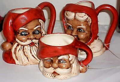1960/70S Three Afro-American Black~Santa & Mrs. Claus Mugs/cups Hand Painted