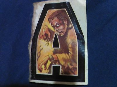 """Vintage Mid-'70's Small """"monster Alphabet"""" Sticker, Unused, Not Mint. Rare-As."""