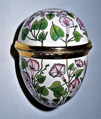 Halcyon Days Enamel Box -Floral Egg- Pink Morning Glory Flowers - With Affection