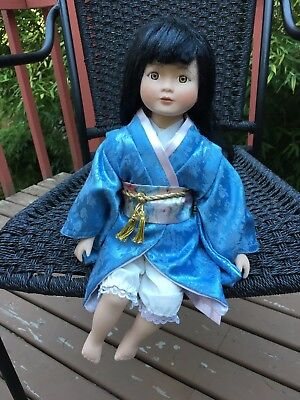"Porcelain Doll with Blue Kimono - 14"" high"