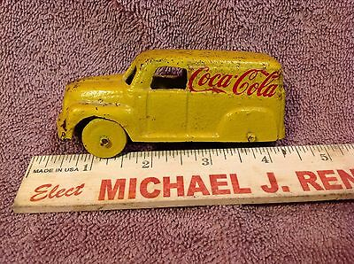 Vintage Cast Iron Coca Cola Delivery Truck Advertising Coke Yellow