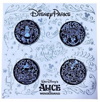 New 2014 Disney Parks Alice Sketch Booster Set of 4 Pins Cheshire Cat Mad Hatter