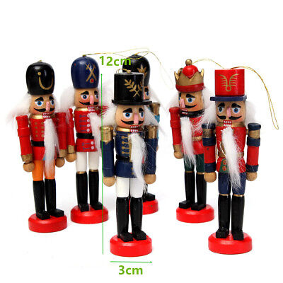 6pcs 12cm Wooden Nutcracker Soldier Toy Walnut Puppet Gifts Home Display Gift