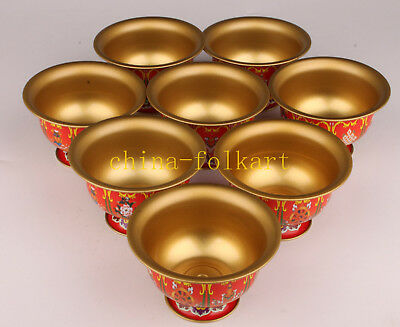 8 Superb Brass Hand-Painted Tibetan Style Bowl Rare Collectable