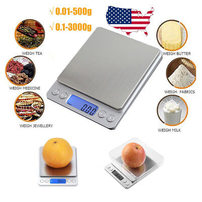 3kg/0.1g 0.01-500g Kitchen Food Scale Digital LCD Electronic Weight Postal Scale