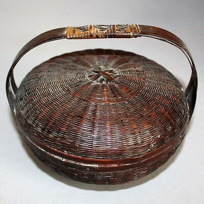 "Antique Vintage VIctorian 6"" Lacquered WICKER SEWING BASKET w/ LID & HANDLES"