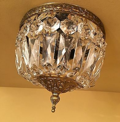 Vintage Lighting matched pair Hollywood Regency crystal domes
