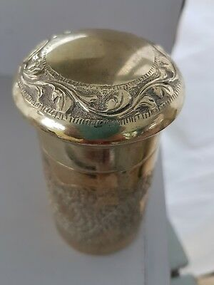 Pretty Silver Plated Lidded Dressing Table Pot/ Bottle with Embossed Design