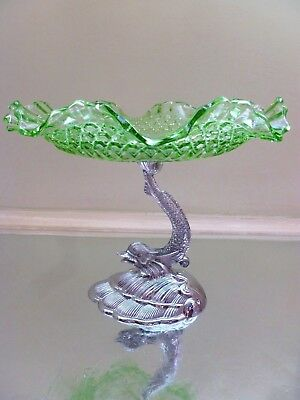 Vintage~ART~DECO~Green~Depression~Glass~Comport~Plate~Chrome~Fish~Stand