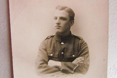 WW1 / WW2 British Soldier RP Postcard,Alan Mills , Exeter photographer Romantic