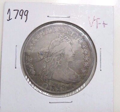 1799 Drapped Bust Silver Dollar $1 **VF+ *HUGE KEY DATE --LOW MINTAGE