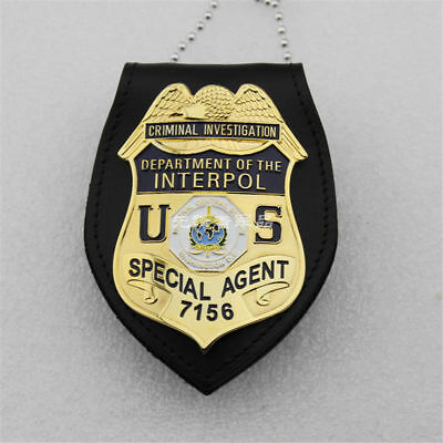 US DEPARTMENT OF INTERPOL Agent Badge +Multifunction Leather Holder Badges Pin