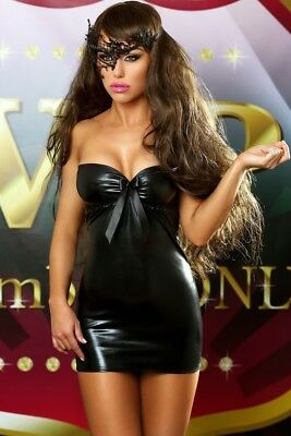 Wetlook Kleid Bows Dress schwarz Lolitta Dessous 36 38 40 42 Minikleid Clubwear