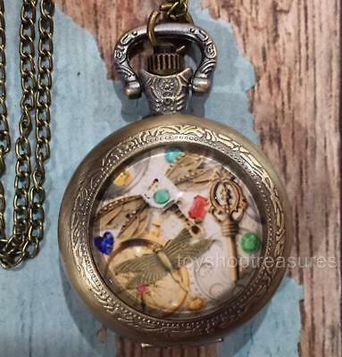 New Antique Brass Steampunk Style Dragonfly Watch Pendant Necklace Dragonfly Key