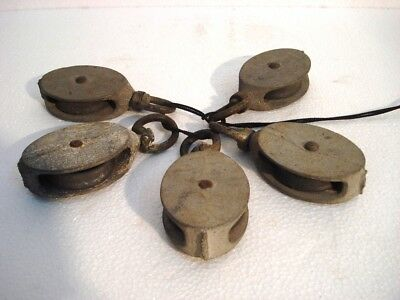 Lot of 5 pcs ANTIQUE Marine PULLEY - SHIP'S 100% ORIGINAL (2652)