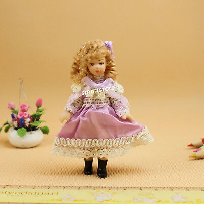 1:12 Dollhouse Miniature Porcelain Doll Lovely Little Girl With Gold Hair Dolls