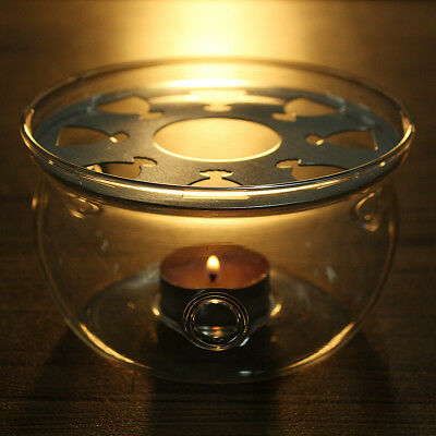 New Teapot Warmer Clear Glass Heat Resisting Round Insulation Base Candle Holder