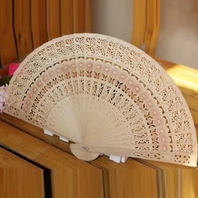 Vintage Wedding Bridal Chinese Folding Bamboo Original Wooden Carved Hand Fan