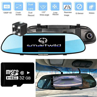"7"" Dash Cam 1080P Rear View Mirror CAR DVR Backup Camera Recorder Kit W960 +32GB"