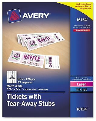 Avery Printable Tickets w/Tear Away Stubs 1-3/4x5-1/2 Matte White 200 Tickets Pk