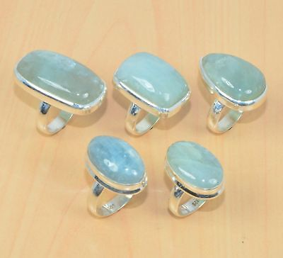 Wholesale 5Pc 925 Solid Sterling Silver Natural Aqua Marine Ring Lot L319