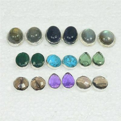 Wholesale 9Pair 925 Solid Sterling Silver Natural Labradorite Stud Earring Lot