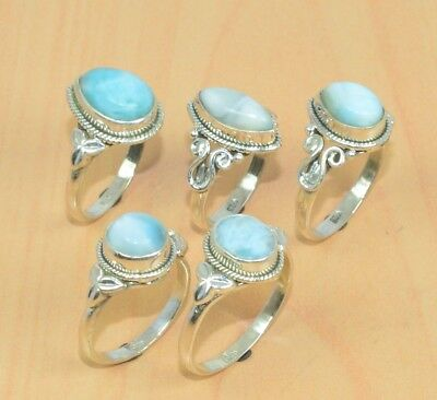 Wholesale Lot 5Pc 925 Solid Sterling Silver Natural Blue Larimar Ring Lot