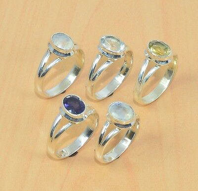 Wholesale 5Pc 925 Solid Sterling Silver Citrine Quartz & Mix Stone Ring Lot L322