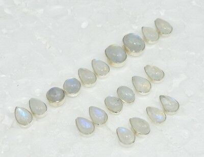 Wholesale10Pair 925 Solid Sterling Silver Natural Rainbow Moon Stone Earring Lot