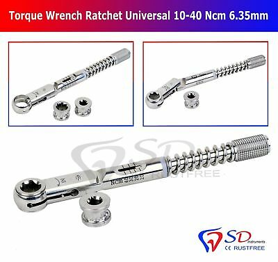 Dental Implant Torque Wrench Ratchet Universal 10-40 Ncm Hex 6.35mm & 4.0mm New