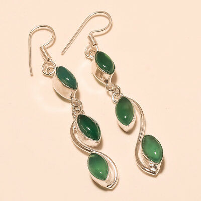 Algeria Green Onyx Silver Tone Earring Antique Thankgiving Natural Jewelry Gifts