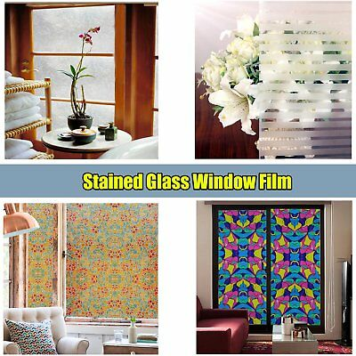 Static Cling Frosted Stained Glass Window Film Sticker Privacy Home Decor Room