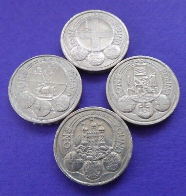 Capital Cities One Pound Coin Collection Full Set 4 Coins Cardiff London Belfast