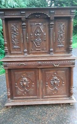 Antique 19Thc French Heavily Carved 2 Piece Buffet Sideboard From Morlaix