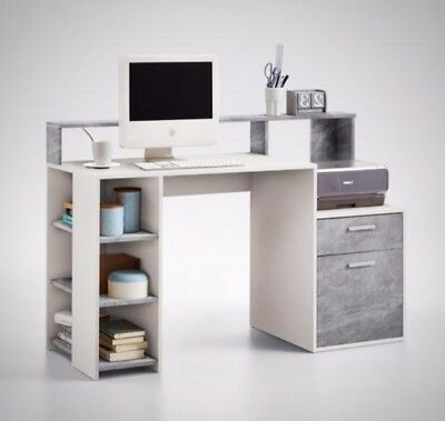 Wooden Computer Desk Printer Space Shelves Workstation Home Office Furniture