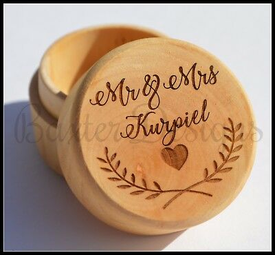 Wedding Wooden Round Ring Box Raw Stained Personalised Custom Engraved