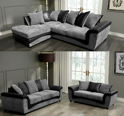 Aston Fabric Corner Sofa Left Right Leather Black and Grey 3 + 2 Seater Set