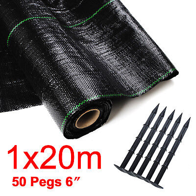 1mx20m+50peg HEAVY DUTY 100g Weed Control Fabric Ground Cover Membrane Landscape
