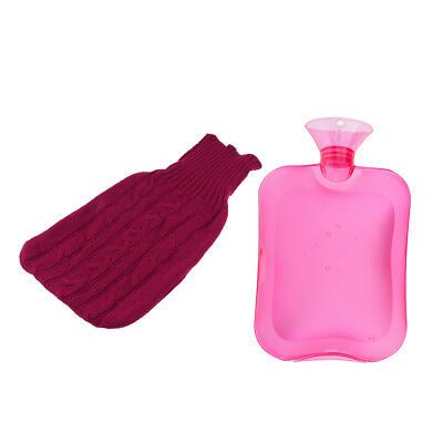 2000ml Rubber Hot Water Bottle Bag Hand Foot Winter Warmer+ Knitted Cover
