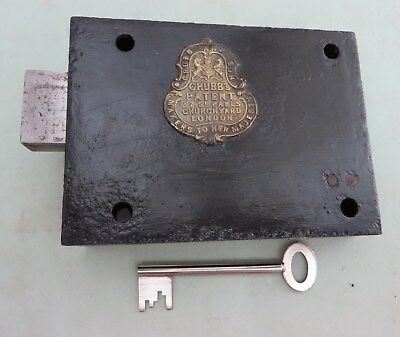 An old antique Chubb patent detector rim lock with working key. Victorian.